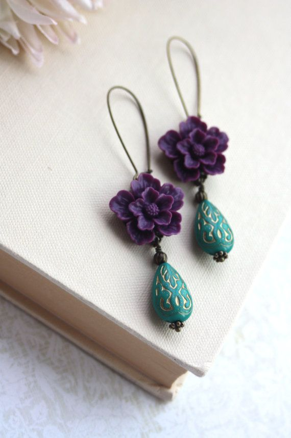 Amethyst Purple Sakura, Green Ornate Beads with Gold Inlay Ornate Lucite Beads Earrings. Maid of Honor. Bridesmaid Gifts.