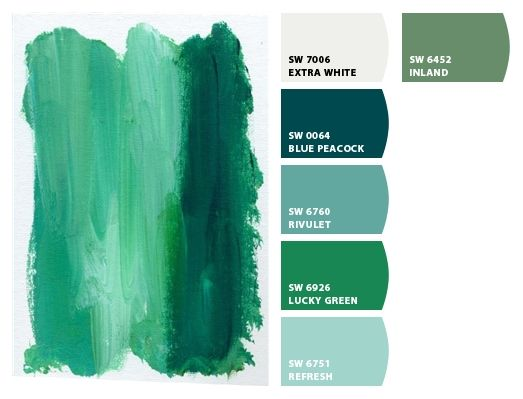 Paint colors from Chip It! by Sherwin-Williams: Blue Peacock, Sherwin Williams Peacock, Ideas Colors, Green Paint Colors, Peacock Colors, Green Paintings Colors
