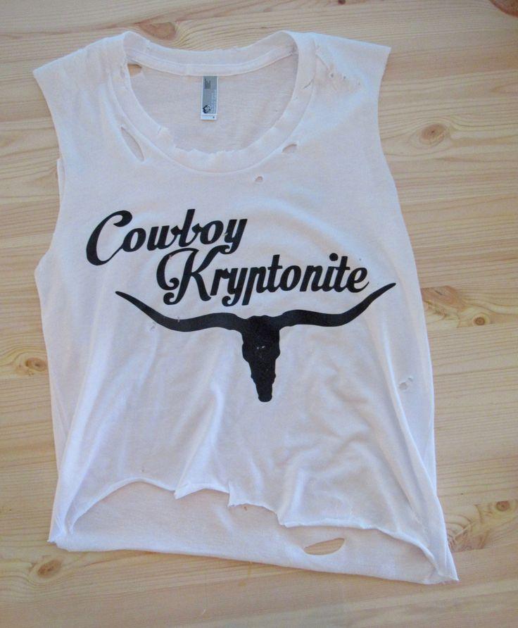 Cowboy Kryptonite/ Muscle tank/ Tattered & Torn/ Country Shirt/ Rodeo shirt…