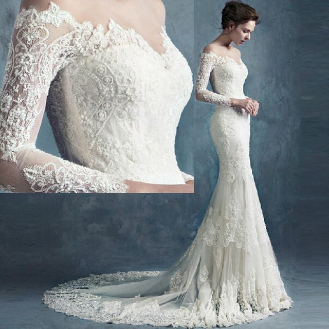 Vestido De Noiva Sereia Vintage Lace Mermaid Wedding Dress Long Sleeve Sexy Bridal Gowns Chapel Train China W4031