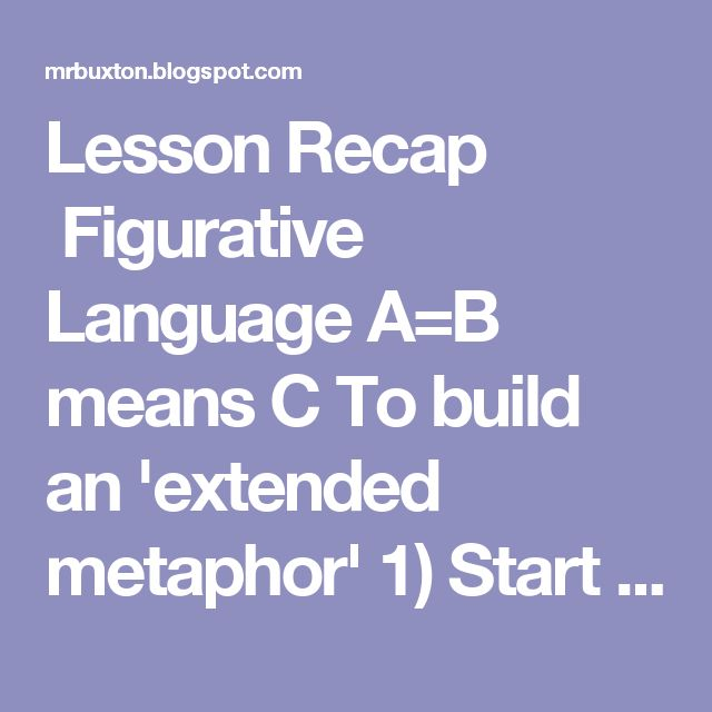 Lesson Recap  Figurative Language A=B means C To build an 'extended metaphor' 1) Start with an anchor metaphor - My life ain't no crystal stair 2) Brainstorm words, verbs, phrases, adjectives associated with A and B side of the metaphor 3) Build the lists into lines of poetry using one from the A and B side 4) Craft the lines into poetry using other poetic devices 5) Revise, edit, and publish into files below