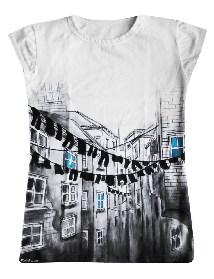 Napoli - Hand painted t-shirt by GogoTrypsiani on Etsy