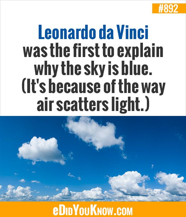 eDidYouKnow.com ►  Leonardo da Vinci was the first to explain why the sky is blue. (It's because of the way air scatters light.)