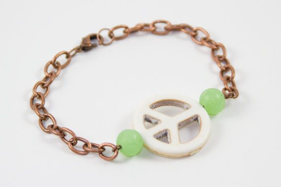 Peace Sign Bracelet  Antique Copper Chain  by ElsieRaeBoutique, $9.99