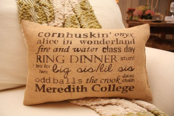 Meredith College Inspired Burlap Throw Pillow by tootyb on Etsy