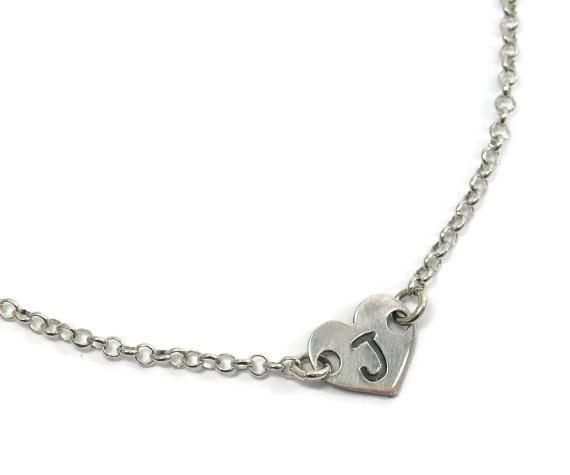 Heart initial necklace. Sterling silver heart initial necklace. Silver initial necklace. Initial heart necklace. Bridesmaid gift. gift idea
