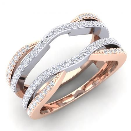 Share for $20 off your purchase of $100 or more! 0.50 Carat (ctw) 14K White & Rose Gold Two Tone Round Cut Diamond Ladies Anniversary Wedding Band Enhancer Guard Double Chevron Ring 1/2 CT - Dazzling Rock #https://www.pinterest.com/dazzlingrock/