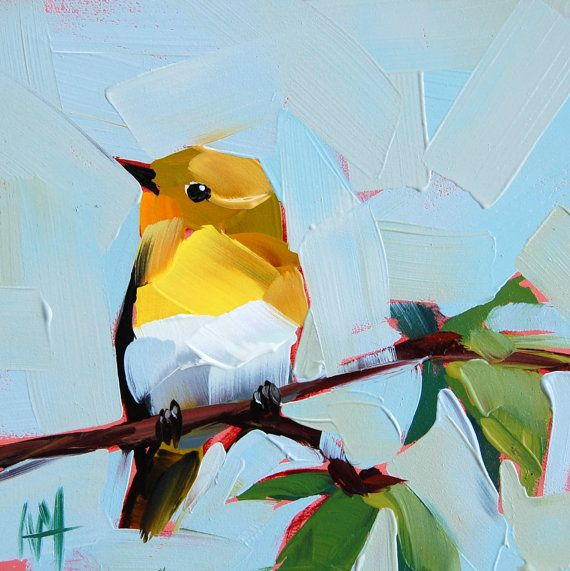 Yellow Throated Vireo on Elm Branch original bird oil painting by Angela Moulton 6 x 6 inches on panel prattcreekart can ship January 30