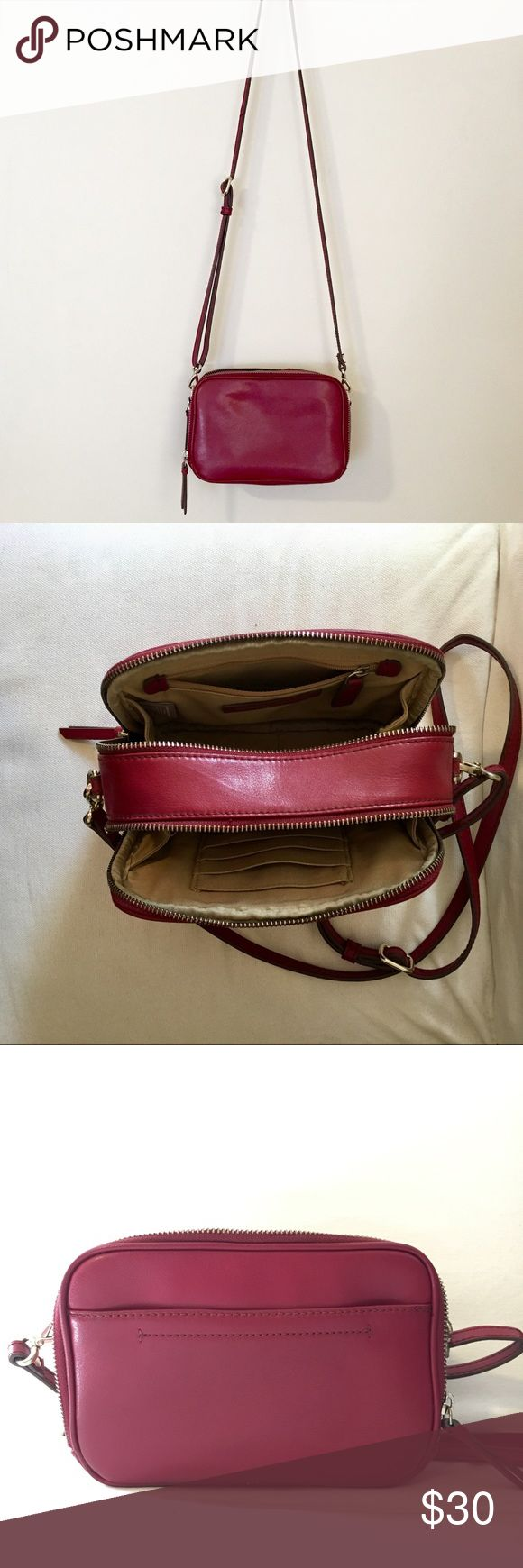 "Banana Republic red leather purse 8"" x 5.5"". Two zip sections. Built in credit card holders, small zip pocket. Adjustable leather strap. 100% split hide cow leather Banana Republic Bags"