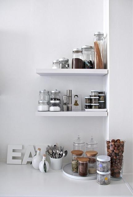 i love these little short shelves. so smart looking! via decor8