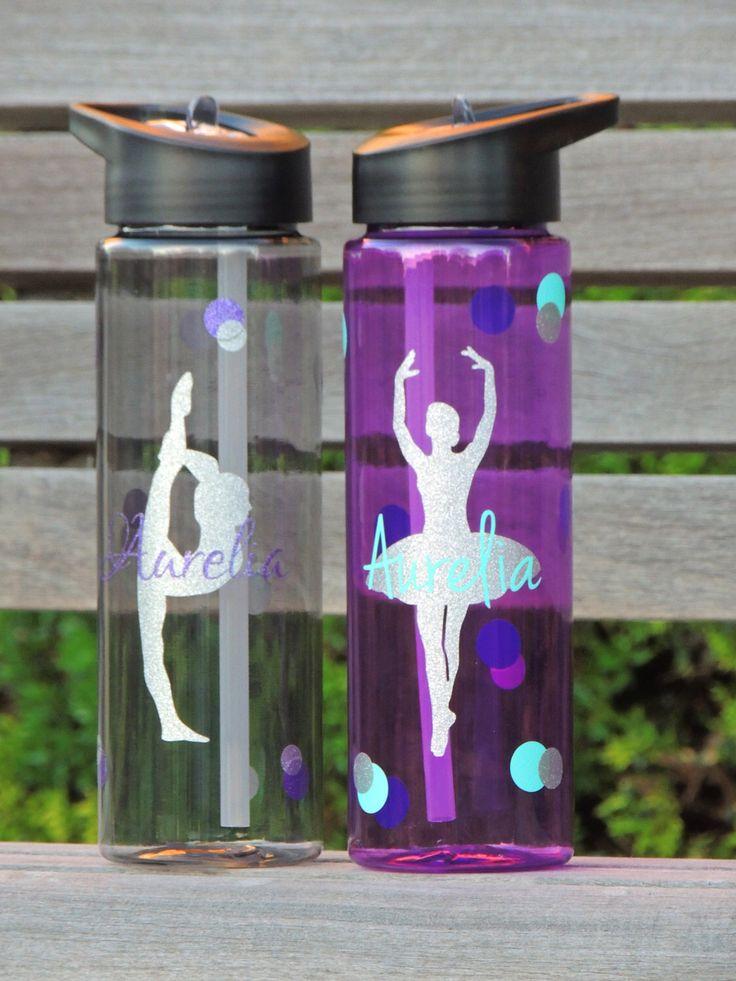 gymnastics water bottle, dance water bottle, ballet water bottle, sports water bottle, water bottle with straw, plastic water bottle, ballet by ShopAroundTheCorner3 on Etsy https://www.etsy.com/listing/226386076/gymnastics-water-bottle-dance-water