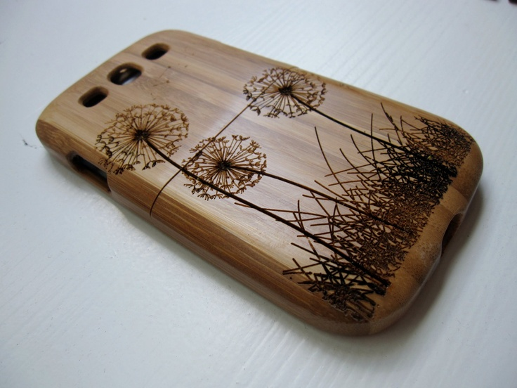 Samsung Galaxy S3  case - wooden cases walnut / cherry or bamboo -  Dandelion. $45.00, via Etsy.