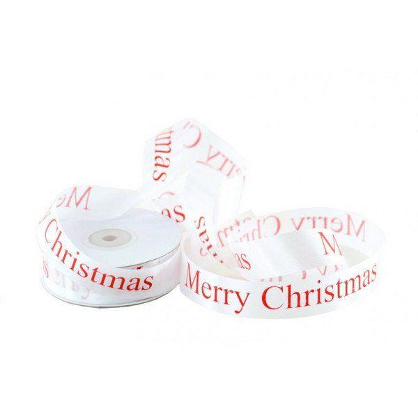 Decorazioni natalizie - Nastro Bianco Merry Christmas mm.15 mt 45 - un prodotto unico di raffasupplies su DaWanda