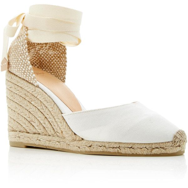 Castañer Carina Canvas Espadrilles ($120) ❤ liked on Polyvore featuring shoes, sandals, heels, white, white shoes, canvas espadrilles, white wedge heel sandals, wedge sandals and wedge espadrilles