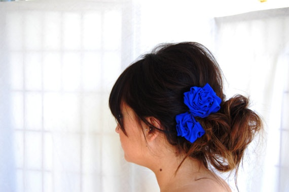 Love!  Cobalt Blue Rosette Hair Clips - by bean and the sprout