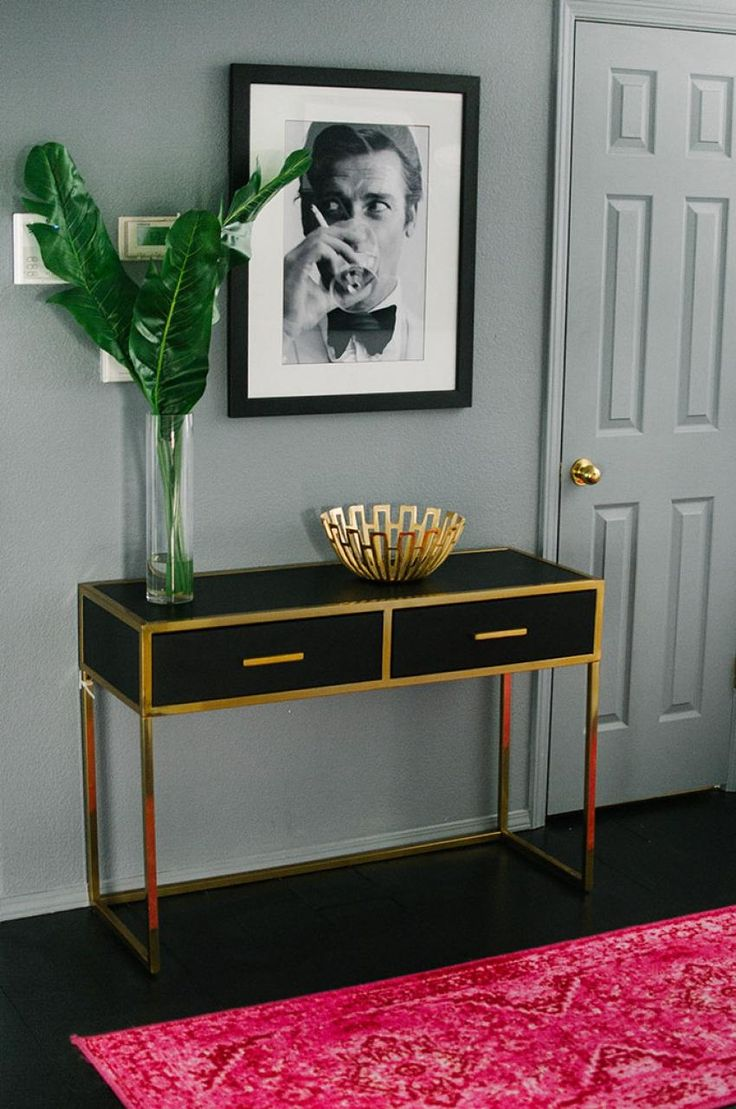 Inspiring Black And Gold Console Table Entryway Via Glitterguide Desing Ideas