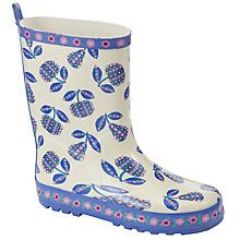 Girl Flowered Fruit Print #Wellington #Boots, Cream/Purple.  We give you money back for your kids when you shop at your favourite retailers through #KidStart. www.kidstart.co.uk