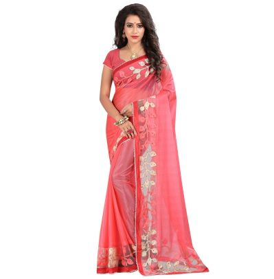 Buy Today Fashionable Pink Color Lycra Embriodered Designer Party Wear Saree by…