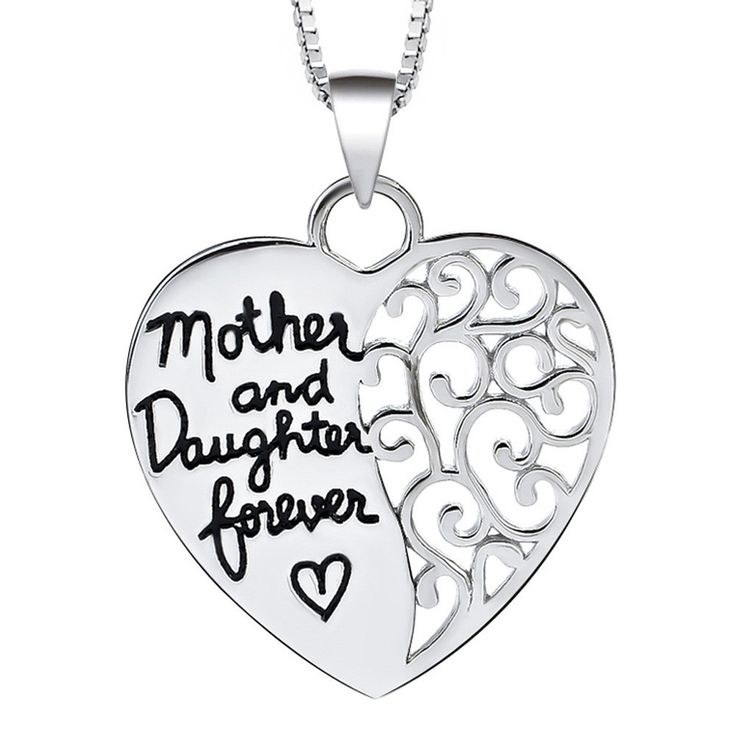 """Sterling Silver Half Heart Hollowed out Half Engraved """"Mother and Daug 