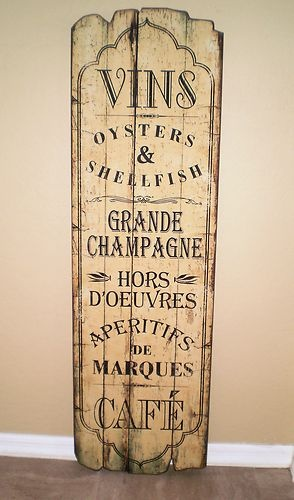 French Country Bistro Vins Wine Cafe Wood Wall Plaque 50 Tall Ebay