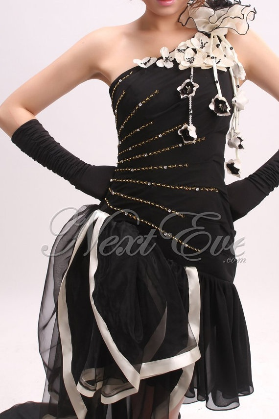 Black One Shoulder Chiffon Hi Low Prom Dress  REN11G386 by livapo,