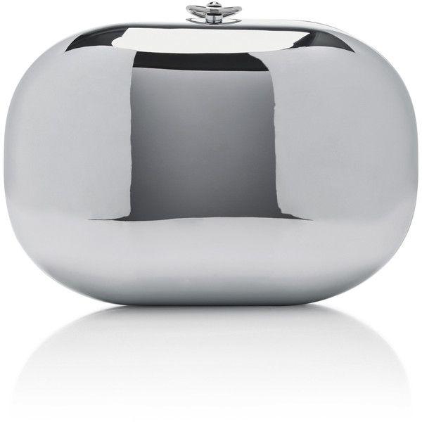 Jeffrey Levinson     Mirrored Chrome Clutch featuring polyvore, women's fashion, bags, handbags, clutches, silver, kiss-lock handbags, locking purse, silver handbags, silver purse and mirror purse