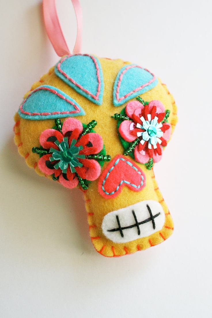 Large Sugar Skull Felt Ornament - Day of the Dead - Dia de los Muertos- Mexican Folk Art