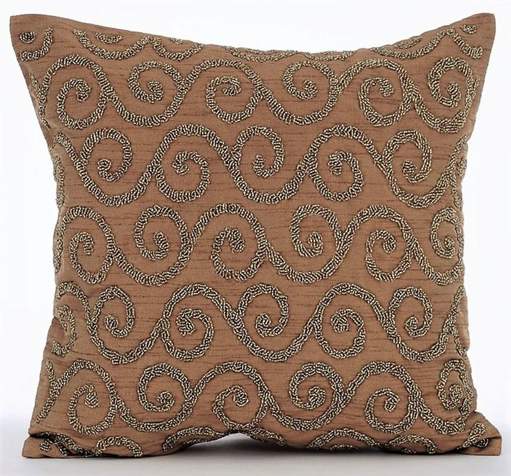 """Handmade Gold Decorative Pillow Cover, 16""""x16"""" Silk Pillows Cover, Square Beaded Scroll Pillows Cover, Gold Embroidery Pillows - Gold Fest by TheHomeCentric on Etsy"""