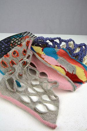 'Secret Knots' project - Machine knitted development swatches by Eileen Braybrook 2013 #knitwear