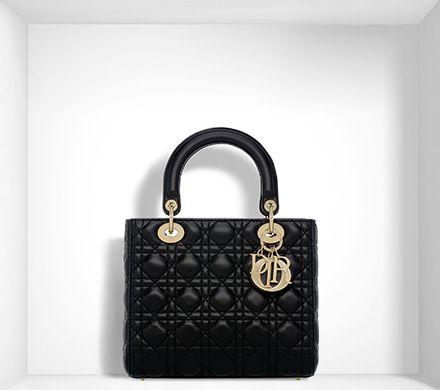 """lady dior"" bag in black lambskin - Dior"