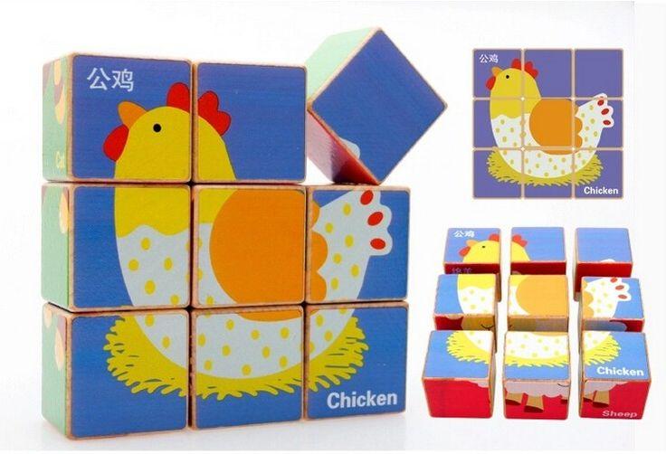 promotional 9 pcs children's educational toys games kids cube block puzzle cubic fun 3d wooden block puzzle 3d cube puzzle game
