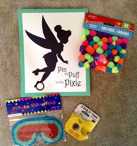 Tinker Bell Birthday Party Game, Pin the Puff on the Pixie!  Click to read more and for a free template.  Tinkerbell, Tinkerbelle #DisneySide
