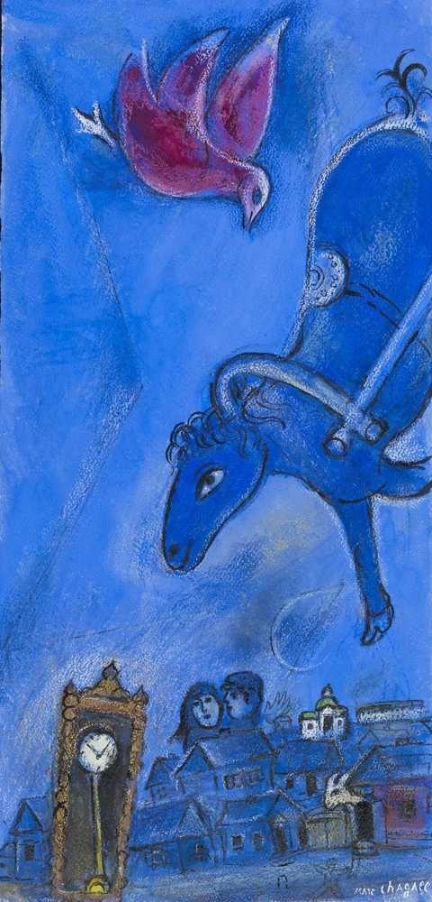 Marc Chagall: Cheval bleu dans le ciel 1946, gouache, pastelli e matite colorate su carta, 61 x 29.5 cm collezione privata. copyright delle immagini: © Chagall ®, by SIAE 2010