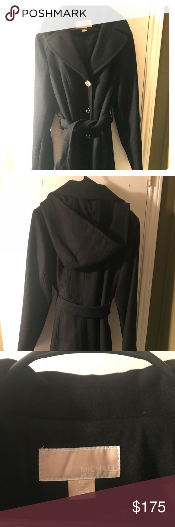 Michael Kors Petite Walker Coat This item has NEVER been worn; it was a gift and the size was wrong, missed return policy date. It's in great condition, kept bagged, has hood and original fabric tag for authenticity, thick and amazing quality. KORS Michael Kors Jackets & Coats Pea Coats