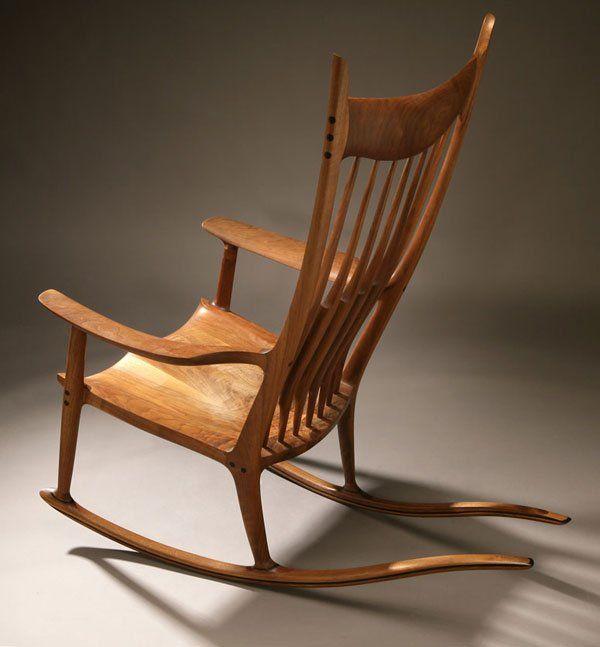 A Sam Maloof walnut and ebony rocking chair