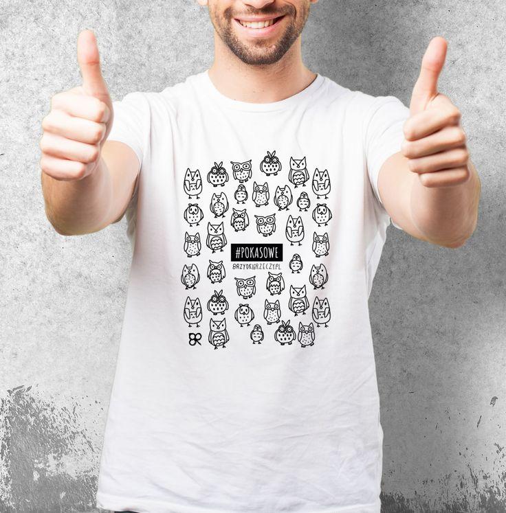 # POKA SOWE mi :) biała koszulka z nadrukiem