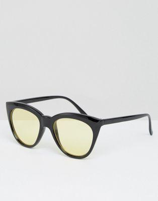 ASOS - Lunettes de soleil yeux de chat à verres jaunes