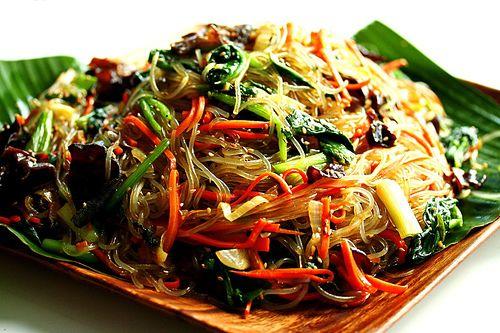 Korean Chop Chae use Korean sweet potato noodles (Asian store) crimini mushrooms