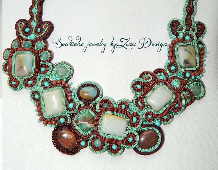 "Colier soutache ""Mint & Chocolate"" 