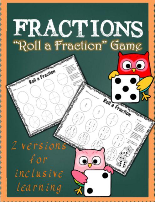 Roll a fraction game. Math centers. Math games.