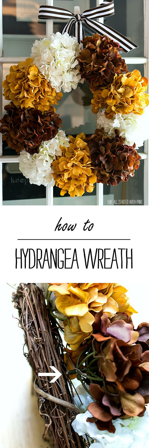 Hydrangea Wreath for Fall - It All Started With Paint