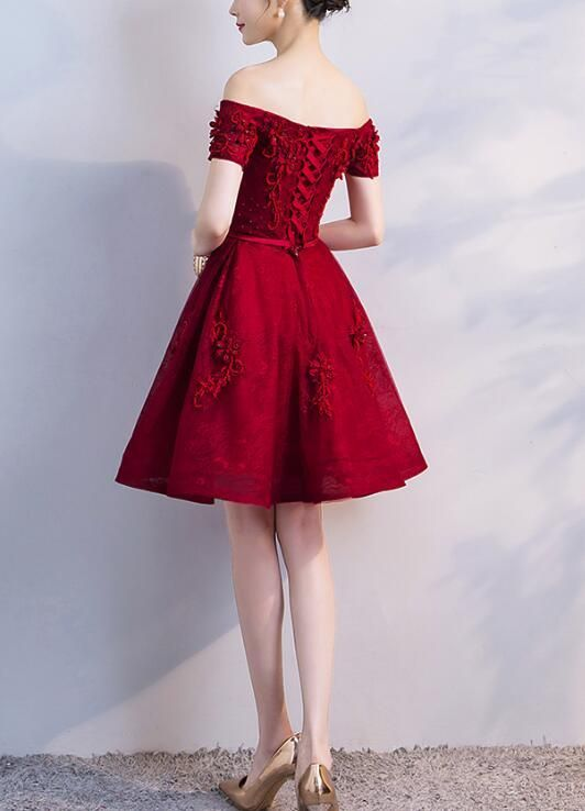 aadf56d262a Adorable Wine Red Short Beaded Homecoming Dress