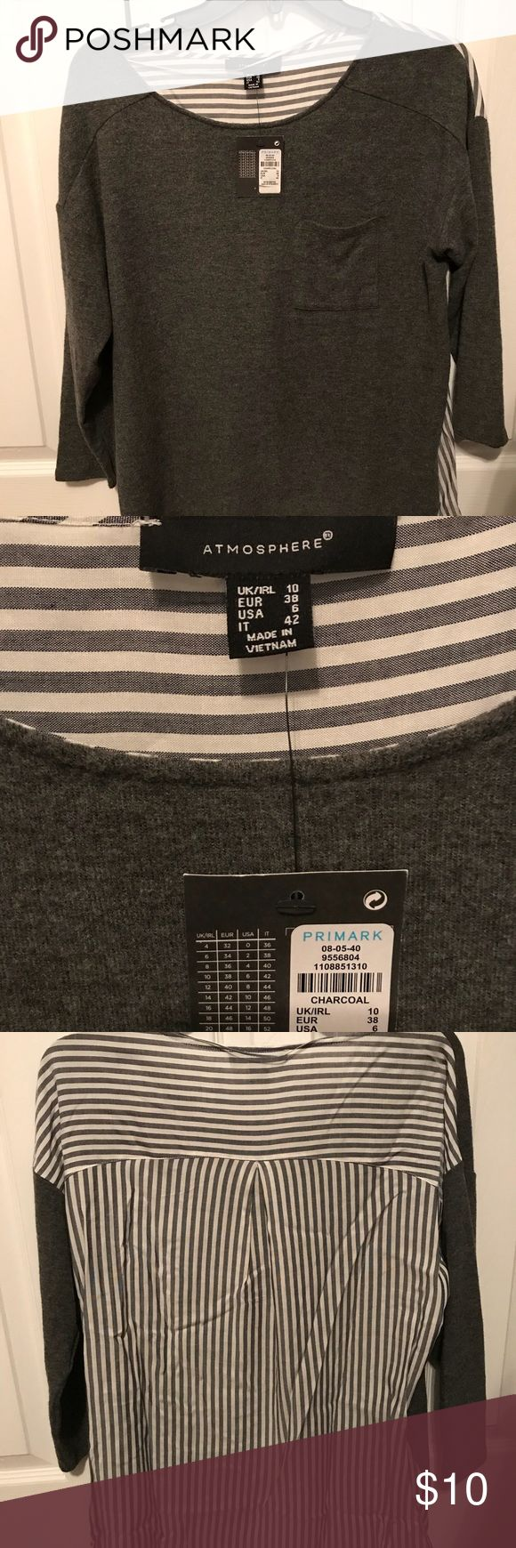 NWT Primark Top Cute top from Primark, NWT. Charcoal color. More of a soft, sweater material on front and blouse material on back. Back is striped. Primark Tops