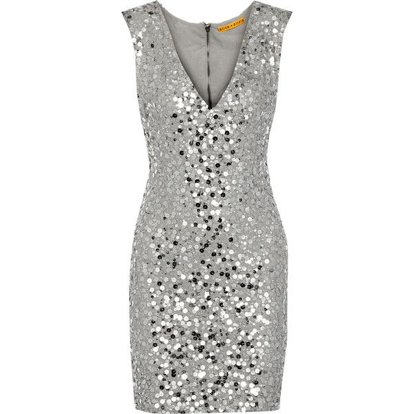 Alice + Olivia Sequin-embellished mesh mini dress ($265) ❤ liked on Polyvore featuring dresses, alice + olivia, cocktail dress, grey, short grey dress, embellished cocktail dress, grey cocktail dress, gray dress and zipper dress