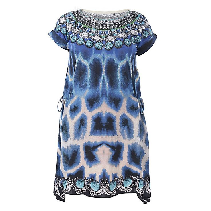 SHORT DRESS IN BLUE PRINT LARGE - Skirts-Dresses - Clothes
