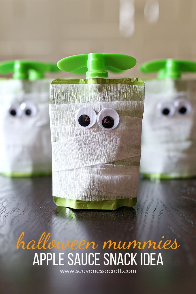 Halloween Mummy Applesauce School Snack Idea: great for preschool or elementary snack time!