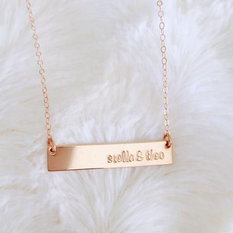 14k Rose Gold Filled Bar Hand Stamped Necklace