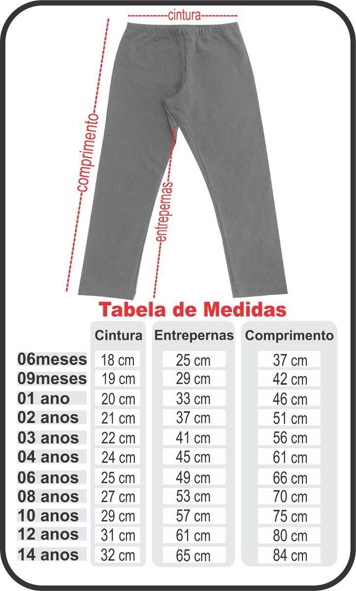 Resultado de imagem para tabela de medidas para calça leg infantil