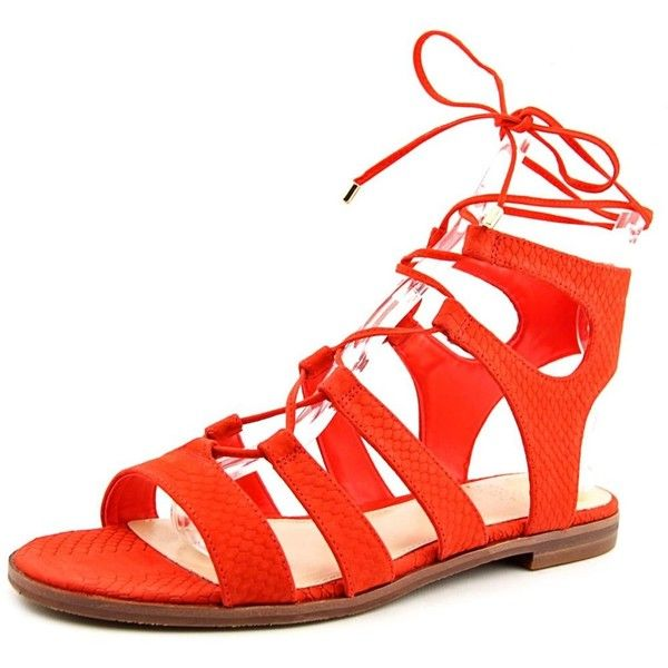 Vince Camuto Vince Camuto Tany Open Toe Leather Gladiator Sandal |... ($45) ❤ liked on Polyvore featuring shoes, sandals, orange, open toe flat shoes, orange flats, flat shoes, open toe flats and vince camuto flats