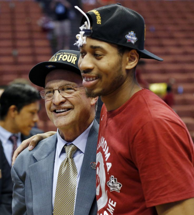 Oklahoma coach Lon Kruger and Isaiah Cousins (11) stand together after the West Regional final in the NCAA Men\'s Basketball Championship between the Oklahoma Sooners (OU) and Oregon Ducks at the Honda Center in Anaheim, Calif., Saturday, March 26, 2016. OU won 80-68. Photo by Nate Billings, The Oklahoman